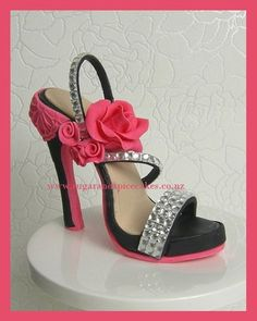 Louboutin Bling Heel Shoe Cake Topper in Fondant