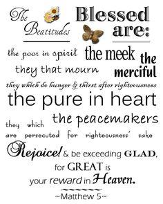 Beatitudes Printable