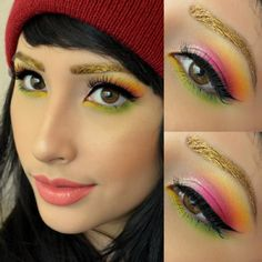 Gold brows inspired by shrinkle on brows I used goldilux by sugarpill and on ze eyes I used buttercupcake, acidberry, dollipop, love+ and flamepoint! All by sugarpill !! And lorac liquid luster in diamond in the inner corner