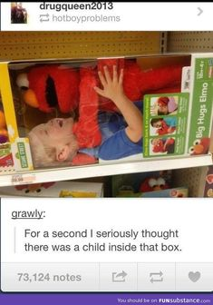 And it looks like Elmo is choking that child... <--- That's what I thought!