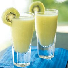 Coconut, pineapple, melon liqueur and the subtle flavor of kiwi make this a yummy Kiwi Colada!