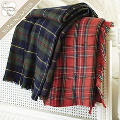 For the girl who loves to travel, this deliciously soft Suzanne Kasler Plaid Throw is the perfect snuggling companion.