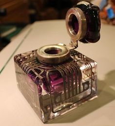 Antique Sterling Silver Overlay Glass Art Deco Inkwell   eBay