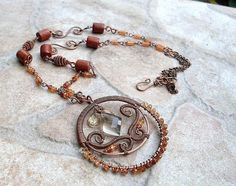 necklace with hessonite garnet and smoky by EdisLittleTreasures, $68.00