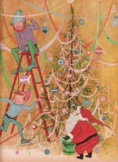 . art gyo, oldfashion christma, christmas, fujikawa christma, prints, balloons, gyo fujikawa, illustr, elves