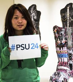 10/21/14 -- Freshman Anju assists the HUB Art Gallery and wants you to use the hashtag #PSU24 for our event this week. Penn State will be collecting #PSU24 posts onto http://www.psu24.psu.edu to show the world a 24-hour day in the life of Penn Staters everywhere. Use #PSU24 on Facebook, Instagram, Vine, Twitter, and Google+, 7:32AM Thursday Oct, 23, 2014 to 7:33AM Friday Oct. 24.