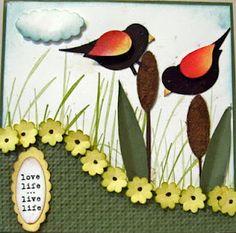 Punch art -red winged blackbirds