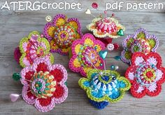 craft, crochet flower, pincushion ring, knit, atergcrochet