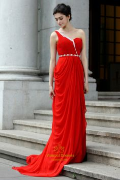 Red One Shoulder Long Prom Dress,Red Prom Dresses With Train