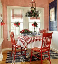 dining rooms, cottag, tea towels, red white blue, breakfast nook, jewel box, kitchen, christma, curtain