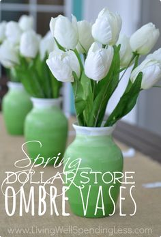 Need a quick & easy pick-me-up for your spring decor? Why not whip up a few of these super cute DiY ombre vases? All you need is a few minutes of time, two shades of paint, and a few basic vases from the dollar store!
