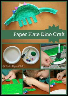 Simple paper plate dinosaur craft for kids