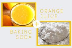 DIY Baking Soda + Orange Juice Face Mask  Mix 1 teaspoon real orange juice with 1 tablespoon baking soda.  Spread a thin layer on your face.  Leave on for 20 minutes. The paste will dry and any facial movements could cause it to flake off, so no talking!  Dampen fingers with water and lightly scrub in circular motions for extra exfoliation.  Rinse off and follow with moisturizer.