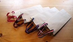 Vintage ribbon on new wine bags