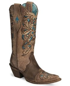 Corral Inlay Laser Tooled Cowgirl Boot