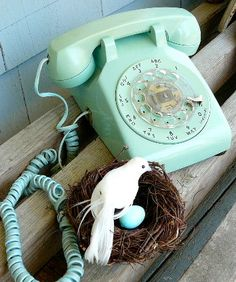 Vintage Aqua Blue Rotary Telephone.  Sold :(