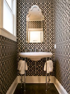 This tiny powder room, designed by San Fracisco-based Niche Interiors, is a study in bold design. Mirrors, Small Bathroom, Half Bath, Interiors, Sinks, Wallpapers, Small Spaces, Smallspaces, Powder Rooms
