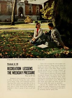 "Athena Yearbook, 1959. ""A boy and a girl leave the indoors to study together on the campus green.""  :: Ohio University Archives"