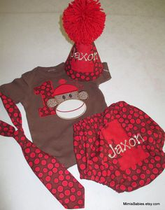 Sock Monkey Birthday Set Sock Monkey Birthday Shirt Birthday Hat Tie and Diaper Cover on Etsy, $95.00