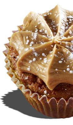 Southern Comfort   Pecan pie cupcake topped with a caramel frosting and dusted with powdered sugar.