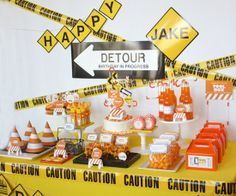 """Birthday Party in Progress: """"I wanted the party to feel like a construction site, with caution tape all over and detour signs,"""" says Debbie of Wants and Wishes Design. """"I played on the words 'Men Working' and 'Detour,' but our detour sign said 'Detour: Birthday in Progress.'""""  Source: Wants and Wishes Design"""