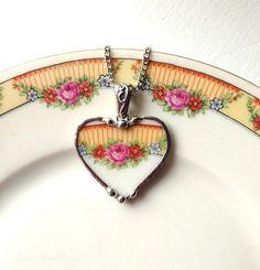 Broken china heart necklace pendant vintage pink roses porcelain broken china jewelry