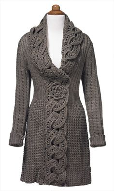 Crochet Flower Coat, in Taupe - pic only