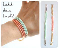 DIY Beaded chain bracelet, a super-easy little project . . . . ღTrish W ~ http://www.pinterest.com/trishw/ . . . . #handmade #jewelry #beading