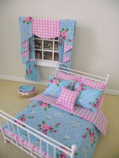 Handmade Miniature dolls house furniture white double bed with bedding and curtains shabby chic