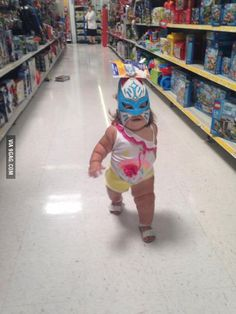Saw this baby luchador about to throw down today. Had to share.