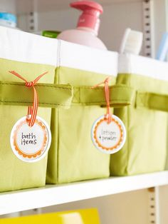 Labels tied to baskets with ribbon :)