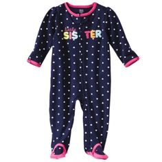 JUST ONE YOU® Made by Carters Infant Girls Interlock Sleep N Play - Pink/Navy