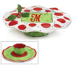 Personalized Christmas Cake Stand and Chip and Dip Plate. $42.00, via Etsy.