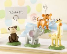 Safari Theme Place Card Holders - Lion, Giraffe, Monkey and Tiger