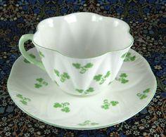Shelley Dainty Shamrock Cup And Saucer English Bone China Green Trim