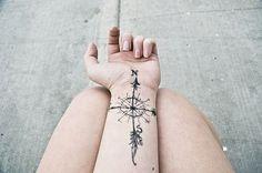 tattoo ideas, arm tattoos, rose tattoos, wrist tattoos, tattoo patterns, a tattoo, true north, compass tattoo, tattoo ink