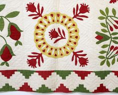 "Baltimore Album Quiltblock, has attached note: ""Made about 1850 by Grandmother Chamberlain"", perhaps, Mary E. Chamberlain, a widowed dressmaker in Baltimore; 8 feet x 8 feet"