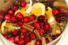 Christmas stove top potpourri...cranberries, citrus, cinnamon sticks, dash of vanilla, whole cloves...whatever you love to smell wafting through your home!