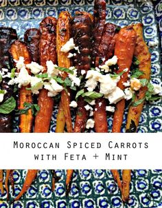 A simple recipe for Morrocan spiced roasted carrots, topped with feta and fresh mint.