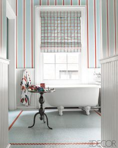 plaid, stripes + penny tile border in floor
