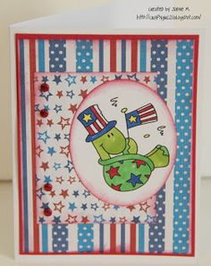 Crafty Girl 21!: Red, White & Blue Turtle Card