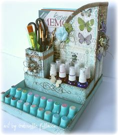 Bo Bunny Enchanted Garden Desk Organizer - Scrapbook.com - Use BoBunny Enchanted Garden to alter a desk set for an elegant result!