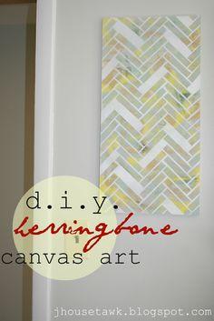 DIY Herringbone Canvas Art