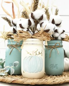 Blue Pumpkin Trio Autumn Decor - Fall decor inspiration