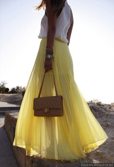 yellow sheer peated maxi skirt