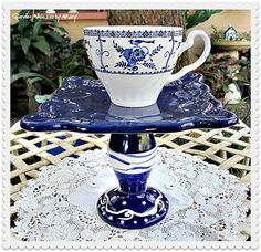 Blue and White Teacup Pedestal Stand / by GardenWhimsiesByMary