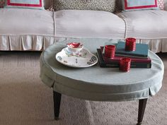 """I like this """"slipcover"""" table cloth. I wonder if that would make a good alternative to painting my table top."""