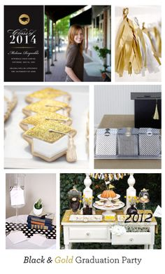 Black and Gold Graduation Party Inspiration - Glitter and Metallic - CrinkledNose.com - Magnetic Cards