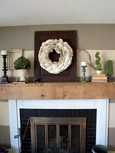making a mantel from old barn wood! Gorgeous!