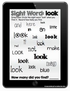 Printable Sight Word Tablets!  Use a dry erase marker to find a specific sight word.  There is a tablet for EVERY sight word!